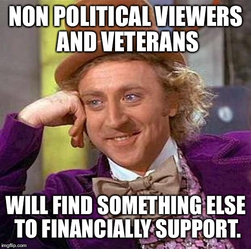 Creepy Condescending Wonka Meme | NON POLITICAL VIEWERS AND VETERANS WILL FIND SOMETHING ELSE TO FINANCIALLY SUPPORT. | image tagged in memes,creepy condescending wonka | made w/ Imgflip meme maker