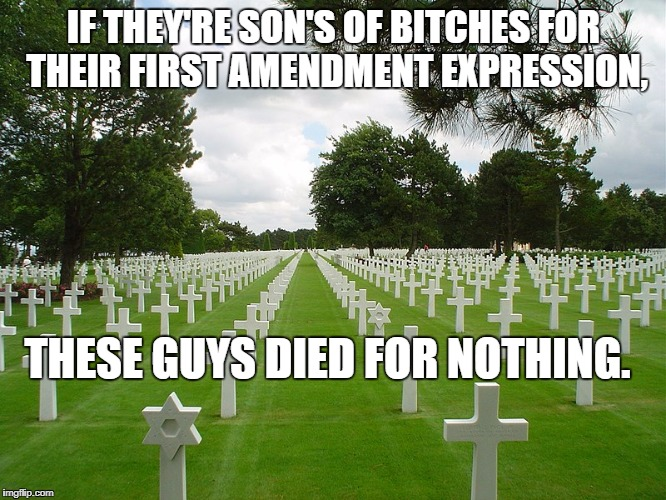 IF THEY'RE SON'S OF B**CHES FOR THEIR FIRST AMENDMENT EXPRESSION, THESE GUYS DIED FOR NOTHING. | image tagged in us cemetery normandy | made w/ Imgflip meme maker