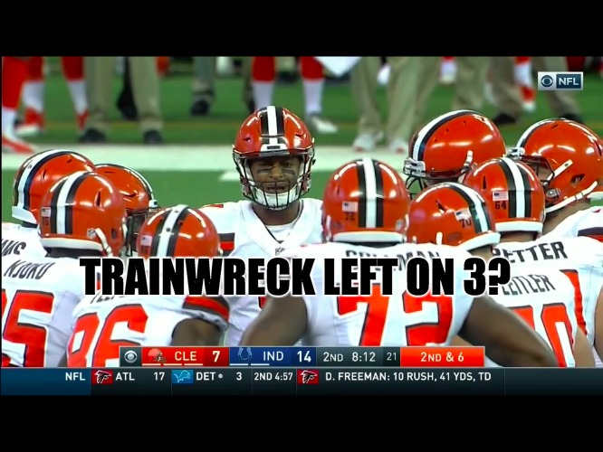 Browns Trainwreck | TRAINWRECK LEFT ON 3? | image tagged in cleveland browns,disaster,trainwreck,nfl memes,cleveland,puke | made w/ Imgflip meme maker