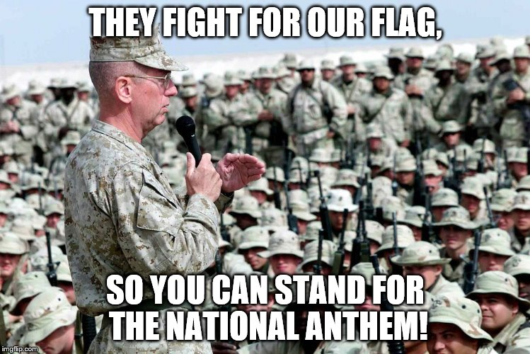 THEY FIGHT FOR OUR FLAG, SO YOU CAN STAND FOR THE NATIONAL ANTHEM! | image tagged in fighting men | made w/ Imgflip meme maker
