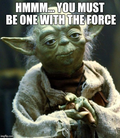 Star Wars Yoda | HMMM... YOU MUST BE ONE WITH THE FORCE | image tagged in memes,star wars yoda | made w/ Imgflip meme maker