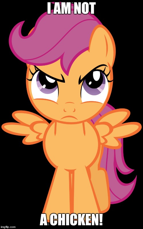Scootaloo isn't a chicken, nor does she like to be called that! | I AM NOT A CHICKEN! | image tagged in memes,scootaloo,chicken,my little pony | made w/ Imgflip meme maker