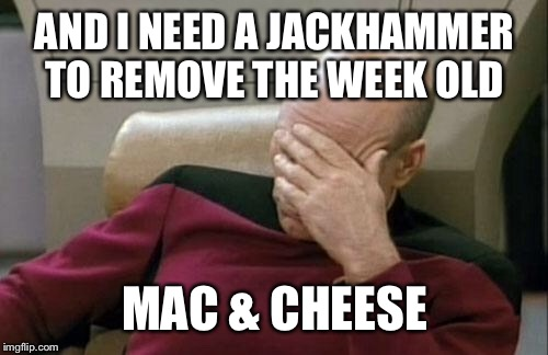 Captain Picard Facepalm Meme | AND I NEED A JACKHAMMER TO REMOVE THE WEEK OLD MAC & CHEESE | image tagged in memes,captain picard facepalm | made w/ Imgflip meme maker
