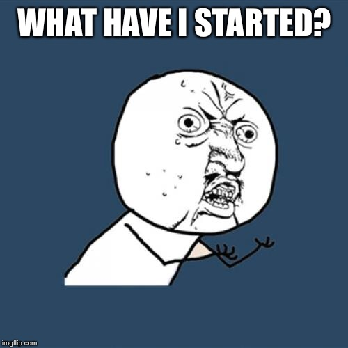 Y U No Meme | WHAT HAVE I STARTED? | image tagged in memes,y u no | made w/ Imgflip meme maker