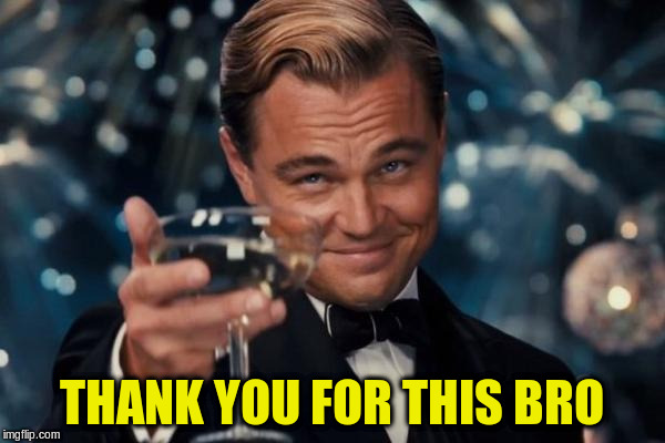 Leonardo Dicaprio Cheers Meme | THANK YOU FOR THIS BRO | image tagged in memes,leonardo dicaprio cheers | made w/ Imgflip meme maker