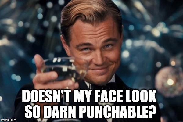Leonardo Dicaprio Cheers Meme | DOESN'T MY FACE LOOK SO DARN PUNCHABLE? | image tagged in memes,leonardo dicaprio cheers | made w/ Imgflip meme maker
