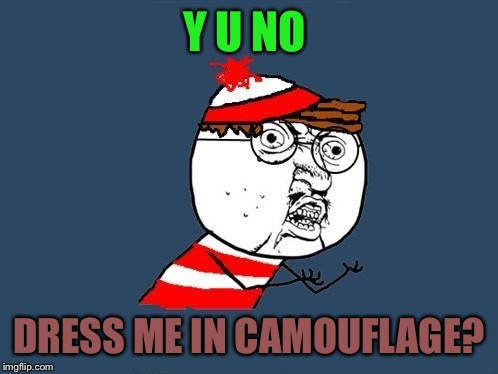 It would add a little more excitement to finding him... | Y U NO DRESS ME IN CAMOUFLAGE? | image tagged in y u no waldo,lol,memes,lynch1979 | made w/ Imgflip meme maker