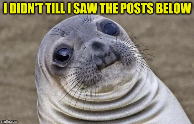 Awkward Moment Sealion Meme | I DIDN'T TILL I SAW THE POSTS BELOW | image tagged in memes,awkward moment sealion | made w/ Imgflip meme maker