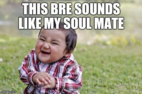 Evil Toddler Meme | THIS BRE SOUNDS LIKE MY SOUL MATE | image tagged in memes,evil toddler | made w/ Imgflip meme maker