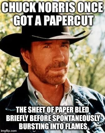 Chuck Norris | CHUCK NORRIS ONCE GOT A PAPERCUT THE SHEET OF PAPER BLED BRIEFLY BEFORE SPONTANEOUSLY BURSTING INTO FLAMES | image tagged in memes,chuck norris,papercut,bled,flame | made w/ Imgflip meme maker
