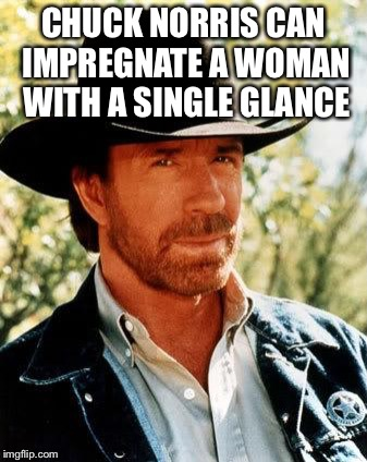 Chuck Norris | CHUCK NORRIS CAN IMPREGNATE A WOMAN WITH A SINGLE GLANCE | image tagged in memes,chuck norris,impregnate,woman,glance | made w/ Imgflip meme maker