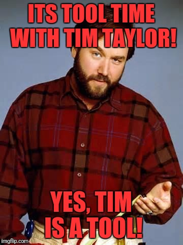 Disbelief Al Borland | ITS TOOL TIME WITH TIM TAYLOR! YES, TIM IS A TOOL! | image tagged in disbelief al borland | made w/ Imgflip meme maker