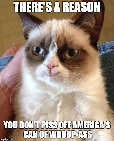 Grumpy Cat Smile | THERE'S A REASON YOU DON'T PISS OFF AMERICA'S CAN OF WHOOP-ASS | image tagged in grumpy cat smile | made w/ Imgflip meme maker