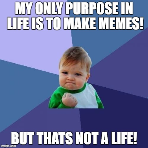Success Kid Meme | MY ONLY PURPOSE IN LIFE IS TO MAKE MEMES! BUT THATS NOT A LIFE! | image tagged in memes,success kid | made w/ Imgflip meme maker