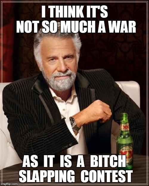 The Most Interesting Man In The World Meme | I THINK IT'S NOT SO MUCH A WAR AS  IT  IS  A  B**CH SLAPPING  CONTEST | image tagged in memes,the most interesting man in the world | made w/ Imgflip meme maker