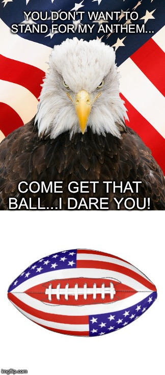 I'm all American  | YOU DON'T WANT TO STAND FOR MY ANTHEM... COME GET THAT BALL...I DARE YOU! | image tagged in bald eagle | made w/ Imgflip meme maker