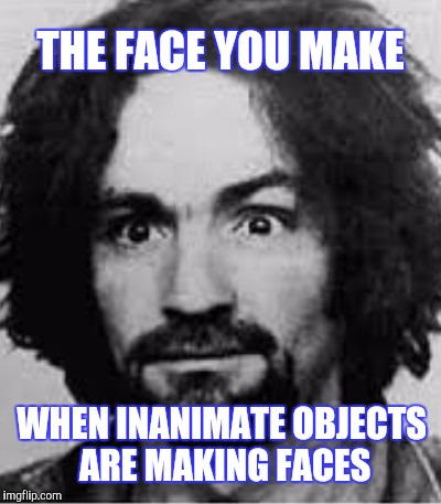 FULL ON NUTS | THE FACE YOU MAKE WHEN INANIMATE OBJECTS ARE MAKING FACES | image tagged in charles manson,the face you make,funny | made w/ Imgflip meme maker