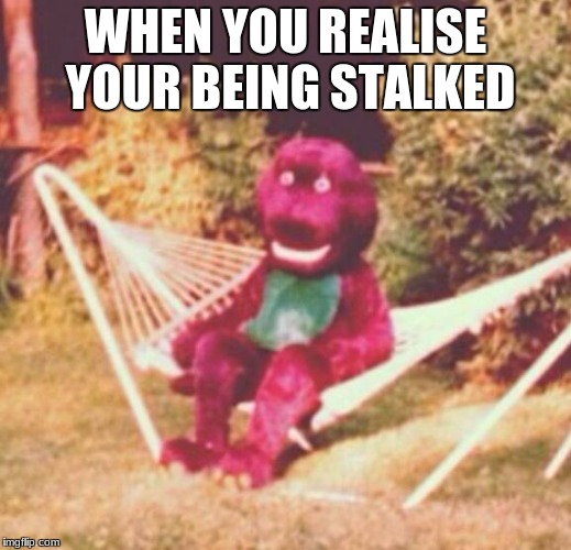WHEN YOU REALISE YOUR BEING STALKED | image tagged in when the drugs hit you hard | made w/ Imgflip meme maker