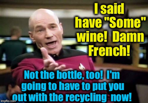 "Picard Wtf Meme | I said have ""Some"" wine!  Damn French! Not the bottle, too!  I'm going to have to put you out with the recycling  now! 