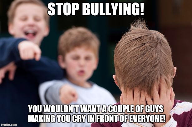 STOP BULLYING! YOU WOULDN'T WANT A COUPLE OF GUYS MAKING YOU CRY IN FRONT OF EVERYONE! | image tagged in bullying | made w/ Imgflip meme maker
