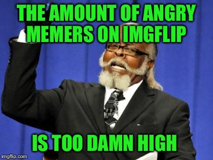 I like to think of Imgflip as one big family.... | THE AMOUNT OF ANGRY MEMERS ON IMGFLIP IS TOO DAMN HIGH | image tagged in memes,too damn high | made w/ Imgflip meme maker