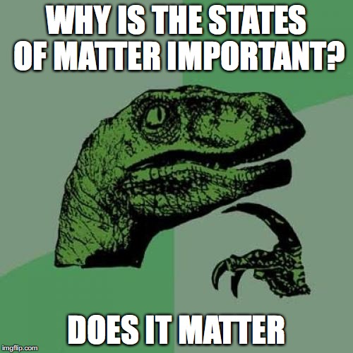 Philosoraptor Meme | WHY IS THE STATES OF MATTER IMPORTANT? DOES IT MATTER | image tagged in memes,philosoraptor | made w/ Imgflip meme maker