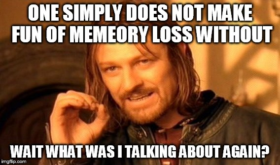 One Does Not Simply Meme | ONE SIMPLY DOES NOT MAKE FUN OF MEMEORY LOSS WITHOUT WAIT WHAT WAS I TALKING ABOUT AGAIN? | image tagged in memes,one does not simply | made w/ Imgflip meme maker