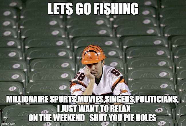 LETS GO FISHING MILLIONAIRE SPORTS,MOVIES,SINGERS,POLITICIANS,  I JUST WANT TO RELAX ON THE WEEKEND   SHUT YOU PIE HOLES | image tagged in nfl bengals no touchdown | made w/ Imgflip meme maker