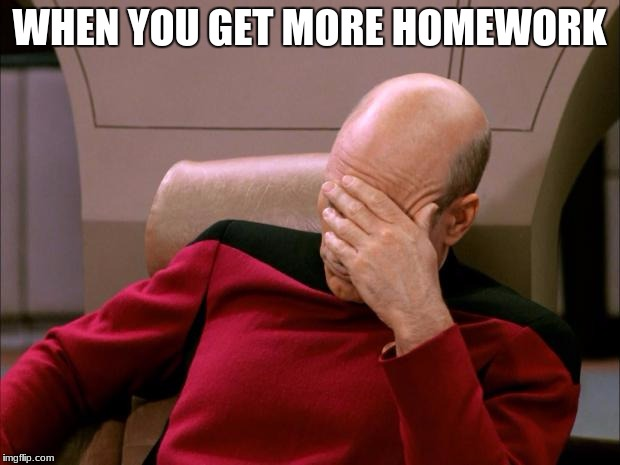 facepalm_pickard | WHEN YOU GET MORE HOMEWORK | image tagged in facepalm_pickard | made w/ Imgflip meme maker