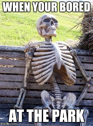 Waiting Skeleton Meme | WHEN YOUR BORED AT THE PARK | image tagged in memes,waiting skeleton | made w/ Imgflip meme maker