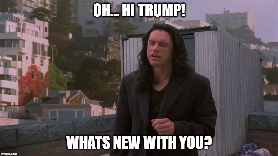 OH... HI TRUMP! WHATS NEW WITH YOU? | image tagged in tommy wiseau,donald trump,reply,fun,roof,movie | made w/ Imgflip meme maker