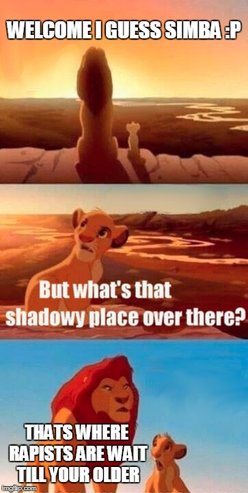 Simba Shadowy Place Meme | WELCOME I GUESS SIMBA :P THATS WHERE RAPISTS ARE WAIT TILL YOUR OLDER | image tagged in memes,simba shadowy place | made w/ Imgflip meme maker