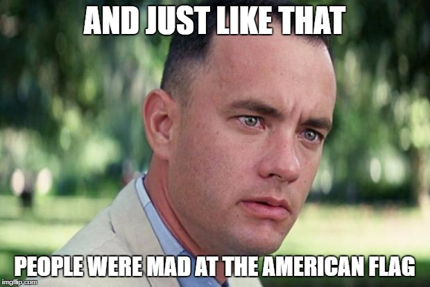 Forrest gump | AND JUST LIKE THAT PEOPLE WERE MAD AT THE AMERICAN FLAG | image tagged in forrest gump | made w/ Imgflip meme maker