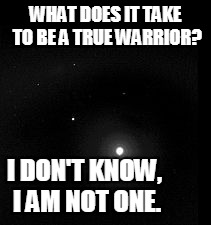 talk to the united states military for the real answer | WHAT DOES IT TAKE TO BE A TRUE WARRIOR? I DON'T KNOW, I AM NOT ONE. | image tagged in warriors | made w/ Imgflip meme maker