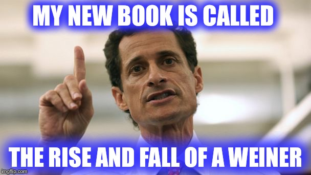 Weiner, Weiner...chicken dinner? | MY NEW BOOK IS CALLED THE RISE AND FALL OF A WEINER | image tagged in anthony weiner | made w/ Imgflip meme maker