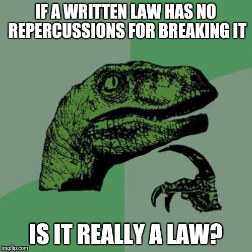 Philosoraptor Meme | IF A WRITTEN LAW HAS NO REPERCUSSIONS FOR BREAKING IT IS IT REALLY A LAW? | image tagged in memes,philosoraptor | made w/ Imgflip meme maker