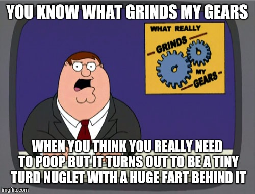Peter Griffin News Meme | YOU KNOW WHAT GRINDS MY GEARS WHEN YOU THINK YOU REALLY NEED TO POOP BUT IT TURNS OUT TO BE A TINY TURD NUGLET WITH A HUGE FART BEHIND IT | image tagged in memes,peter griffin news | made w/ Imgflip meme maker