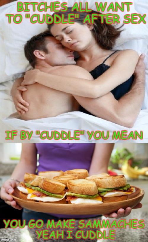 "Cuddle | B**CHES ALL WANT TO ""CUDDLE"" AFTER SEX YOU GO MAKE SAMMACHES YEAH I CUDDLE IF BY ""CUDDLE"" YOU MEAN 