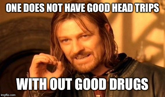 One Does Not Simply Meme | ONE DOES NOT HAVE GOOD HEAD TRIPS WITH OUT GOOD DRUGS | image tagged in memes,one does not simply | made w/ Imgflip meme maker