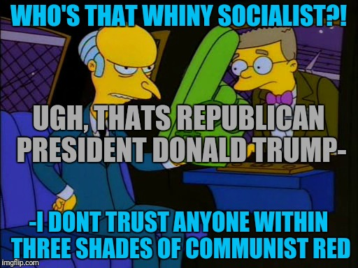 WHO'S THAT WHINY SOCIALIST?! -I DONT TRUST ANYONE WITHIN THREE SHADES OF COMMUNIST RED UGH, THATS REPUBLICAN PRESIDENT DONALD TRUMP- | made w/ Imgflip meme maker