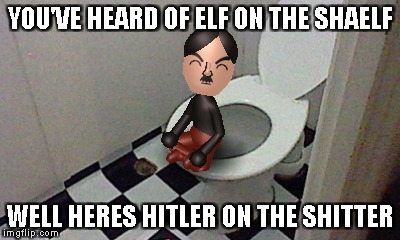 Hittler on the shitter | YOU'VE HEARD OF ELF ON THE SHAELF WELL HERES HITLER ON THE SHITTER | image tagged in hitler,nazi | made w/ Imgflip meme maker