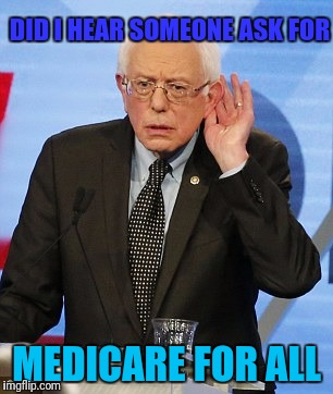 DID I HEAR SOMEONE ASK FOR MEDICARE FOR ALL | made w/ Imgflip meme maker