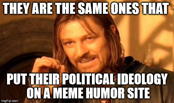 One Does Not Simply Meme | THEY ARE THE SAME ONES THAT PUT THEIR POLITICAL IDEOLOGY ON A MEME HUMOR SITE | image tagged in memes,one does not simply | made w/ Imgflip meme maker
