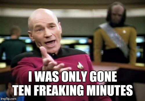 Picard Wtf Meme | I WAS ONLY GONE TEN FREAKING MINUTES | image tagged in memes,picard wtf | made w/ Imgflip meme maker