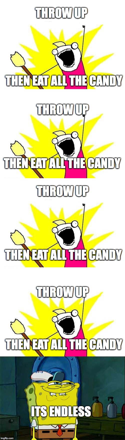 THROW UP THEN EAT ALL THE CANDY THROW UP THEN EAT ALL THE CANDY THROW UP THEN EAT ALL THE CANDY THROW UP THEN EAT ALL THE CANDY ITS ENDLESS | made w/ Imgflip meme maker