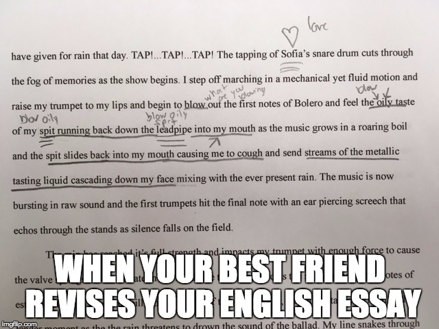 I Swear I wasn't trying to be sexual with my description of blowing my trumpet! | WHEN YOUR BEST FRIEND REVISES YOUR ENGLISH ESSAY | image tagged in memes,trumpet,blowing,english,best friends,revision | made w/ Imgflip meme maker