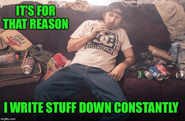 Stoner on couch | IT'S FOR THAT REASON I WRITE STUFF DOWN CONSTANTLY | image tagged in stoner on couch | made w/ Imgflip meme maker