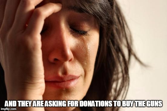 First World Problems Meme | AND THEY ARE ASKING FOR DONATIONS TO BUY THE GUNS | image tagged in memes,first world problems | made w/ Imgflip meme maker