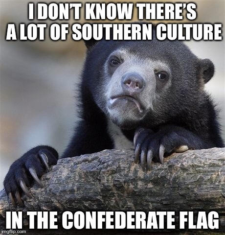 Confession Bear Meme | I DON'T KNOW THERE'S A LOT OF SOUTHERN CULTURE IN THE CONFEDERATE FLAG | image tagged in memes,confession bear | made w/ Imgflip meme maker