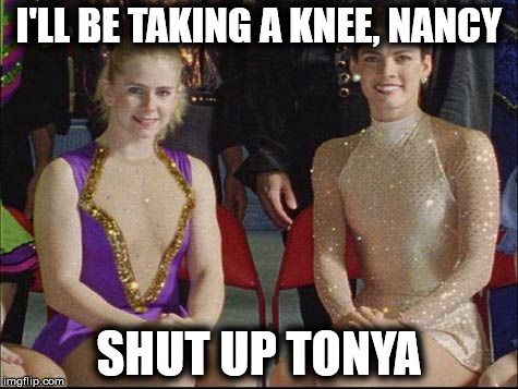 On a lighter sideRemembering 1994 | I'LL BE TAKING A KNEE, NANCY SHUT UP TONYA | image tagged in taking a knee | made w/ Imgflip meme maker